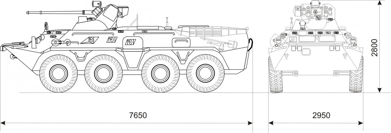 БТР-82А - размеры
